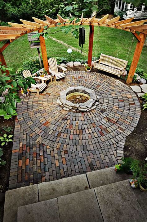 pit fire outdoor patio backyard seating garden firepit designs yard brick pergola area firepits diy stone living landscaping bench deck