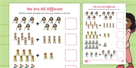 * New * We Are All Different Addition To 10 Worksheet  Originals, Fiction
