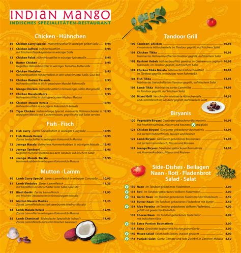 indian cuisine menu indian mango food drinks