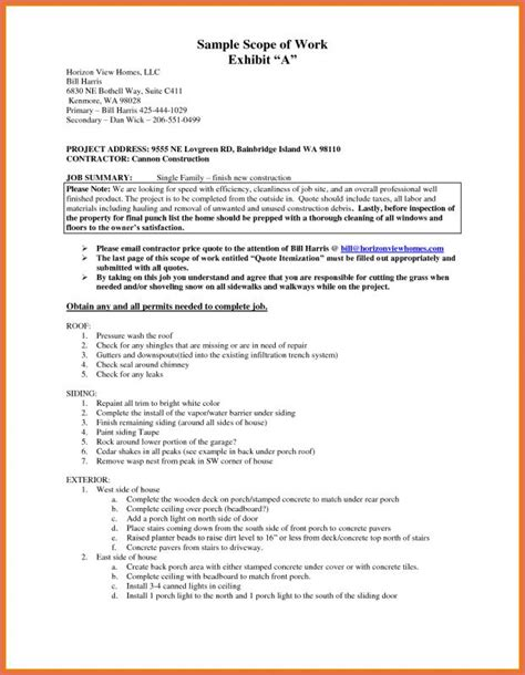 Scope Of Work Template Construction Scope Of Work Template Template Business