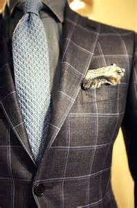 Pattern Men's Blue Windowpane Suits