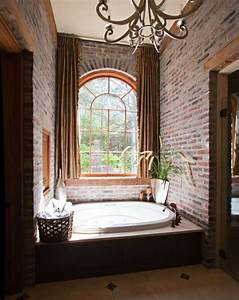 33 bathroom designs with brick wall tiles ultimate home for Fake window for bathroom