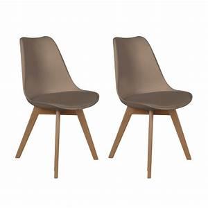 Chaise Bois Pas Cher : lot de 2 chaises design scandinaves pas cher pieds en bois taupe ~ Teatrodelosmanantiales.com Idées de Décoration