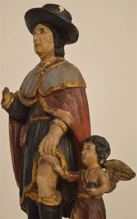 cuisiner st roch 17th century carved wood shrine statue of