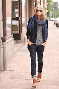 Business casual work outfit Navy blazer grey tee blue scarf jeans. Casual Friday. | Style ...
