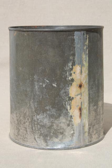 Lot Big Old Tin Cans Vintage Zinc Color Rustic Primitive