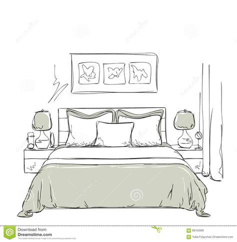 chambre dessin dessin intérieur moderne de chambre à coucher illustration