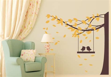 tree with bird swing 2 color wall decal floral birds