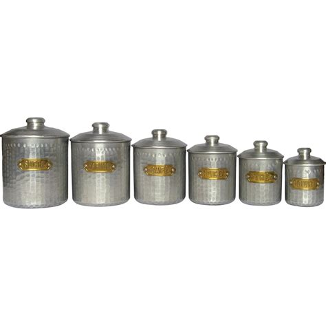 kitchen canisters set of dimpled aluminum vintage kitchen canisters