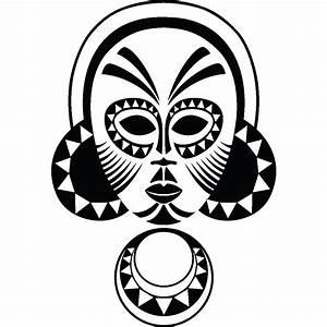 stickers muraux pays et villes petit masque africain With carrelage adhesif salle de bain avec moon flower led