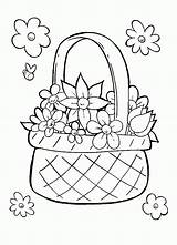 Basket Coloring Flower Flowers Sketch Perfect Popular Template sketch template