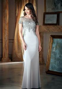 fitted bateau neck silver satin embroidery beaded