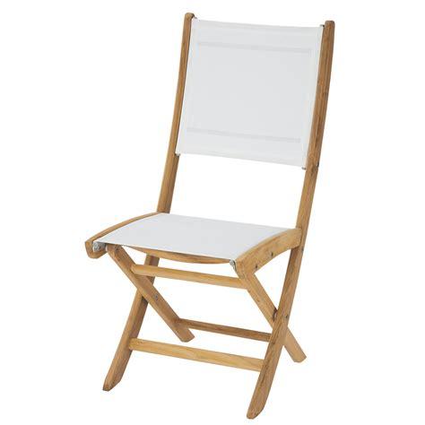 chaise de jardin pliante blanche teck capri maisons du monde