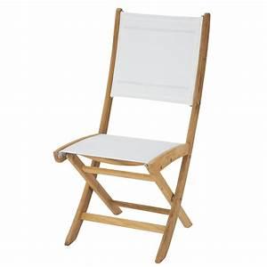 Chaise Jardin Bois : chaise de jardin pliante blanche teck capri maisons du monde ~ Teatrodelosmanantiales.com Idées de Décoration
