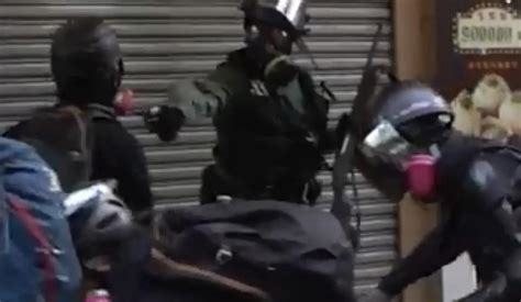 hong kong protester in the chest with a live bullet by daily mail