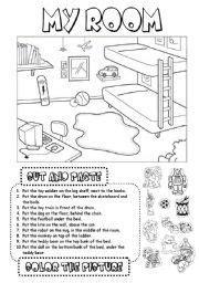 english worksheet  room  ingles ninos educacion
