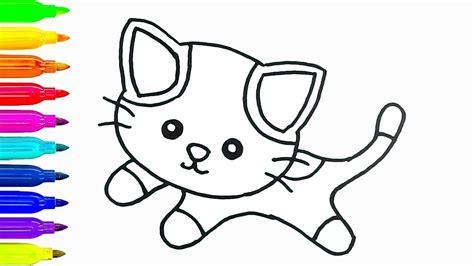 baby cat drawing  coloring  kids   draw