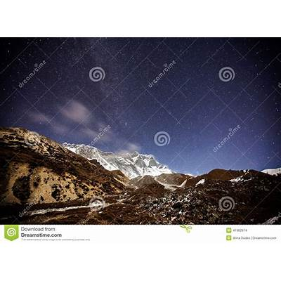 Mountain With Star In Night Time Stock Photo - Image: 41962974
