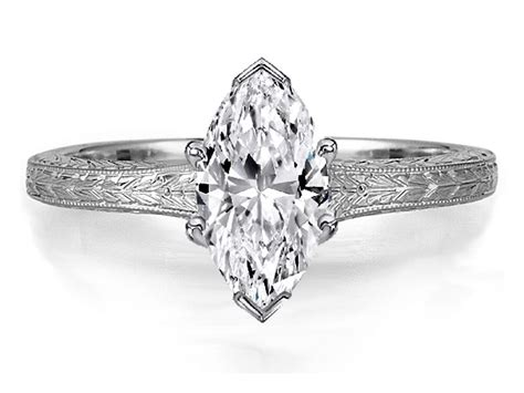 0.75 Carat Marquise Diamond Solitaire Wheat Engraved