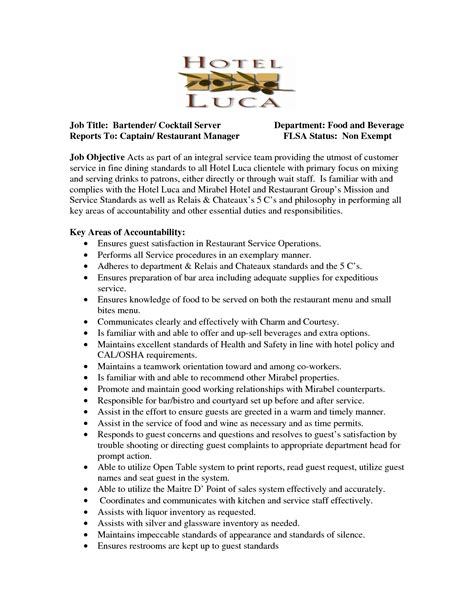 Resume Objective For Cocktail Server by Server Resume Title Bartender Cocktail Server Department Food Waitress Description For