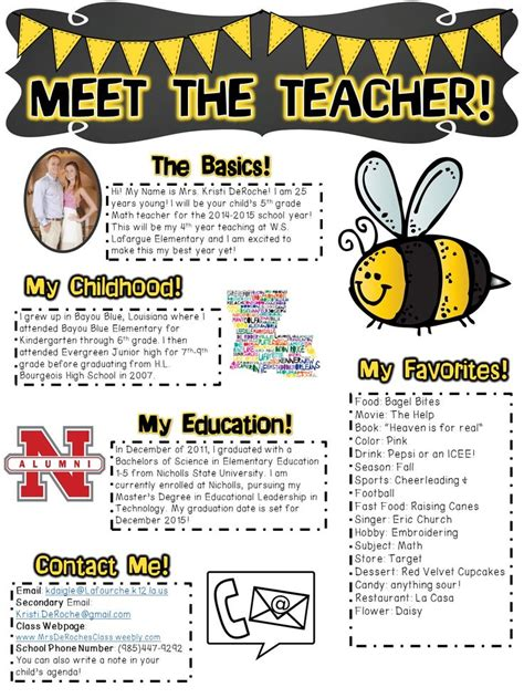 free meet the teacher meet the for open house or the days of school completely editable bee
