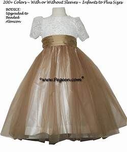 ivory and sesame light bronze flower girl dresses pegeen With ivory and bronze wedding dresses