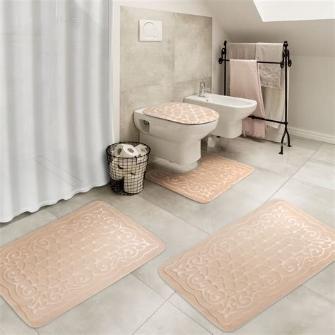 effiliv  piece bathroom rugs set memory foam large bath