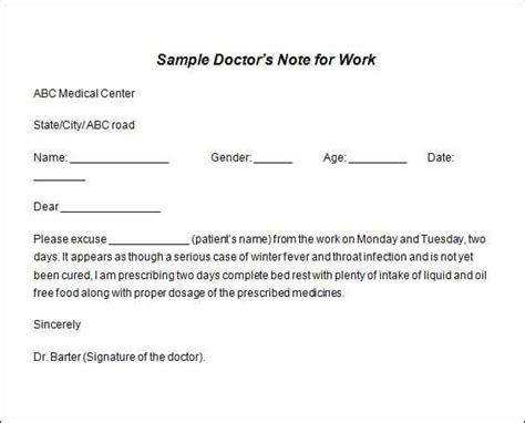 doctors note template microsoft word 9 doctor note templates word excel pdf formats
