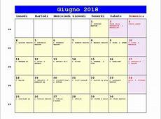 Calendario Giugno 2018 PDF Corpus Domini, Festa della
