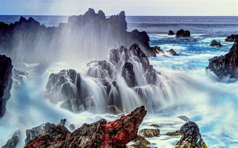 landscape nature sea rock coast horizon waterfall