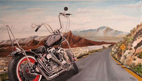 Harley Davidson sur route 66 - Peinture originale - Catawiki