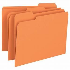 Smead 12543 orange letter size file folders 1 3 cut tabs for Smead letter size file folders