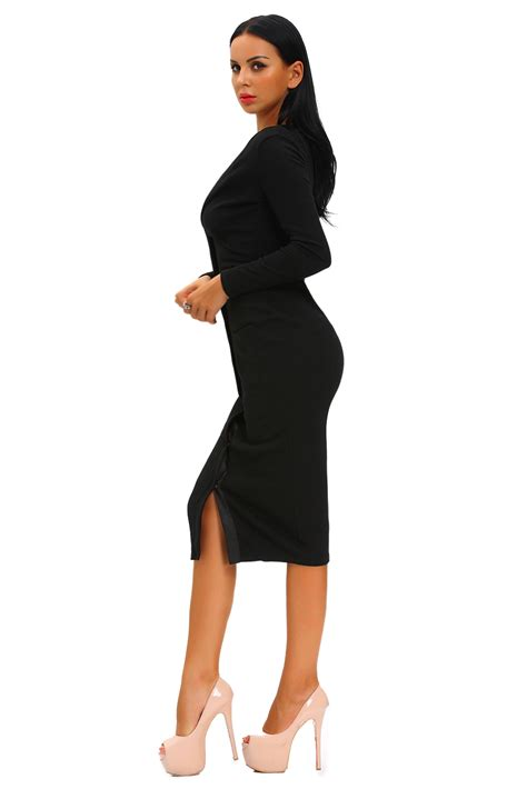 Women Black Button Up Ribbed Midi Cardigan Dress Long Sleeve Stage Dance Brief | eBay