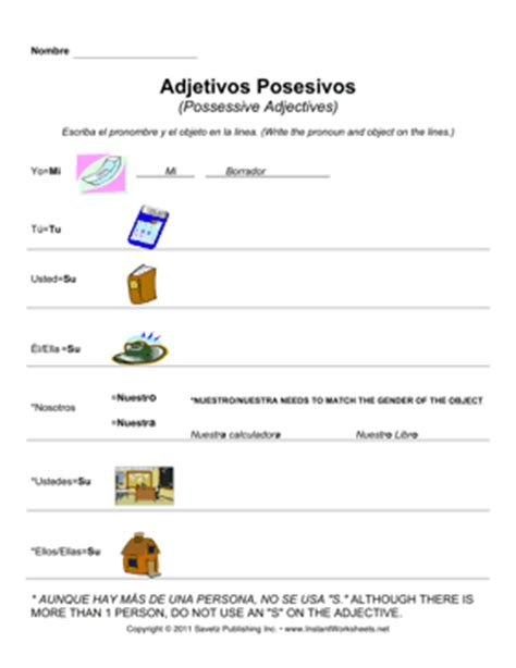 Possessive Adjectives Spanish Worksheet Pdf  Possessive Adjectives Spanish Worksheet Pdf