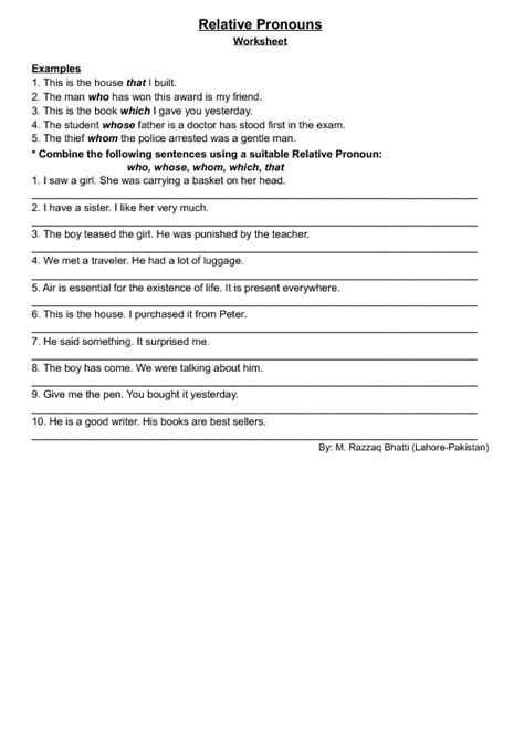 relative pronouns worksheet 4th grade worksheets for all