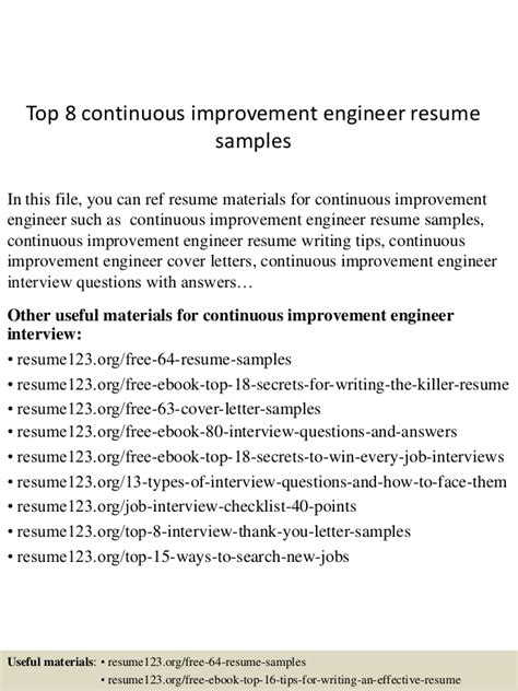 Continuous Improvement Leader Resume by Top 8 Continuous Improvement Engineer Resume Sles
