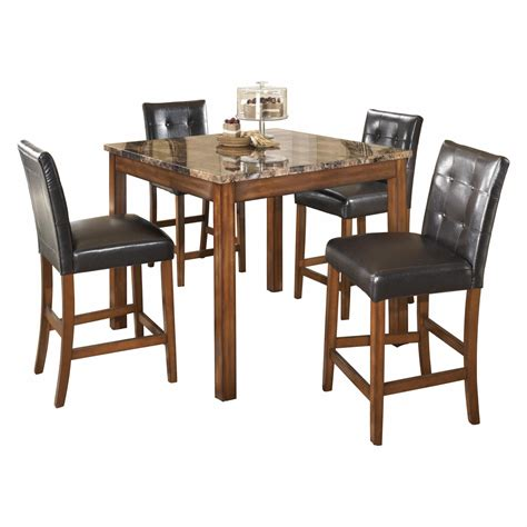 Totally furniture is proud to carry ashley furniture products. Signature Design by Ashley Theo 5 Piece Counter Height Dining Table Set, Warm | eBay
