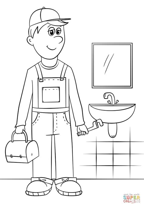 14785 plumber clipart black and white plumber coloring page free printable coloring pages