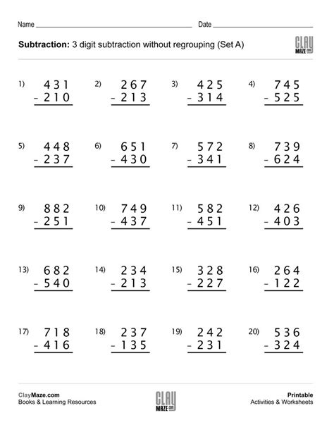 addition without regrouping worksheet for grade 1 our free printable 3 digit subtraction worksheet