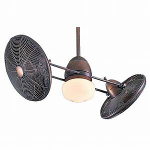 Inch ceiling fan with twin turbofans and light kit