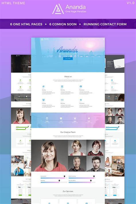 parallax website template ananda one page parallax website template 65857