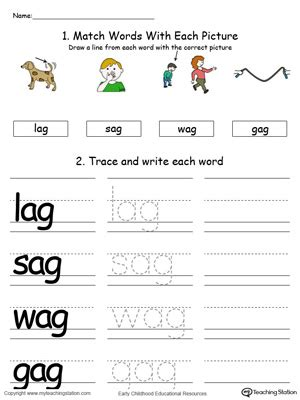 ag word family match letter and write the word ag word family connect trace and write in color 28059