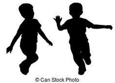 boys running  children silhouette decals kids