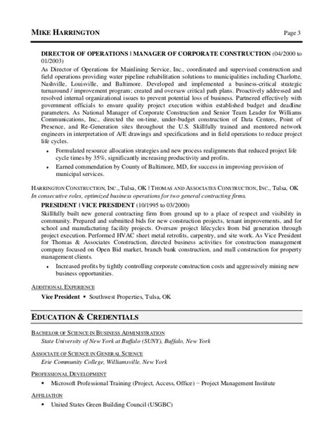 Building Operations Manager Resume by Michael Harrington Corporate Operations Resume