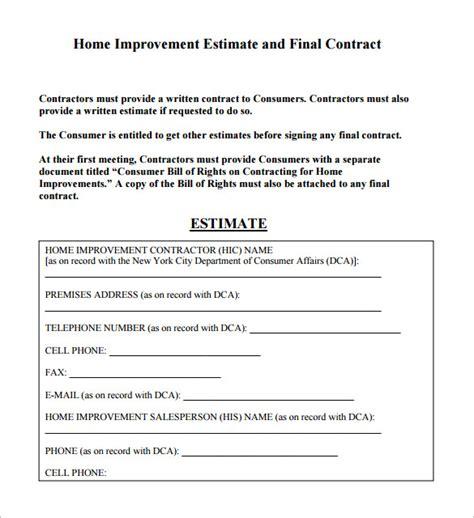contractor estimate template 6 contractor estimate templates pdf doc free premium templates