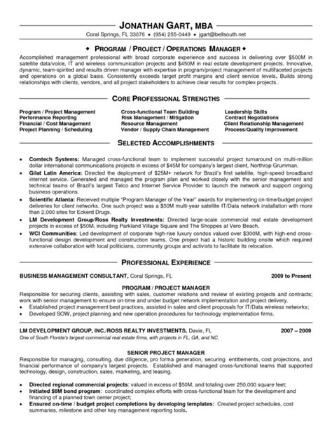 Program Management Resumes by Appealing It Program Manager Resume Sle Displaying