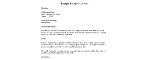 A Friendly Letterbusiness Letter Examples
