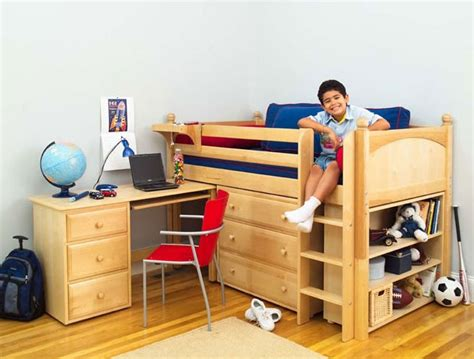 maxtrix kids twin low loft bed with desk dresser and bookcase