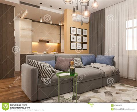 illustration living room interior design modern studio apartment   scandinavian