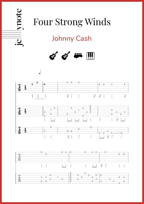 """Like latin music, caribbean is a broad category that includes many different genres. Johnny Cash """"Four Strong Winds"""" Guitar, Bass and Piano sheet music   Jellynote"""